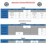 Planning des entraînements 2016-2017